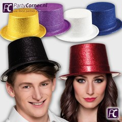 Hoge glitter hoed