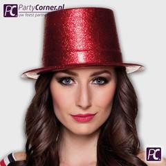 Hoge Glitter hoed rood