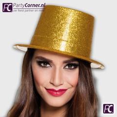 Goudkleurige hoge glitter hoed