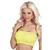 Strapless top neon geel