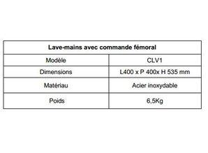 Casselin Lave mains INOX commande fémorale (genoux)