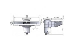 Weltico A800 hoogwaterlijn skimmer RVS voor Liners & paneel