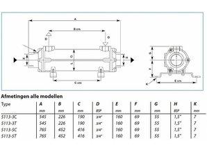 Bowman warmtewisselaar voor boiler Cu/Ni & Titanium
