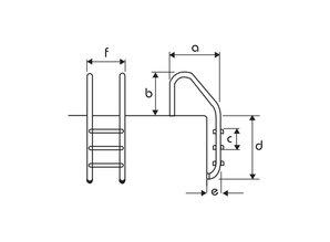 Flexinox Standaard ladder AISI 316 antislip 3 treden