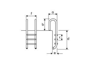 Flexinox muurmodel AISI 316 anti-slip 4 treden