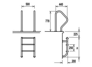 Flexinox 2-section échelle SS316 4 étapes