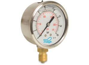 Mega RVS manometer 63 mm, glycerine gevuld