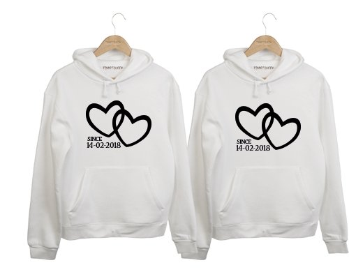 e4906980c97835 COUPLE HOODIES 2 HARTJES SINCE (DATUM) - Tshirtqueen