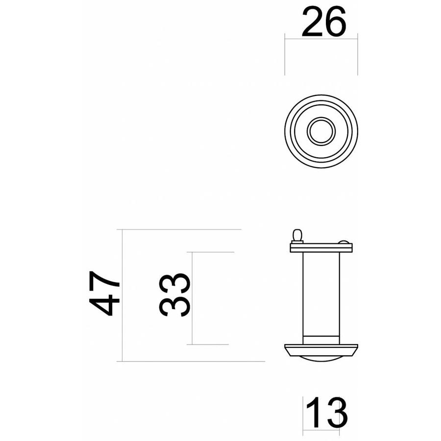 Spionoog inox diameter 26 mm - deurdikte 34mm - 52 mm