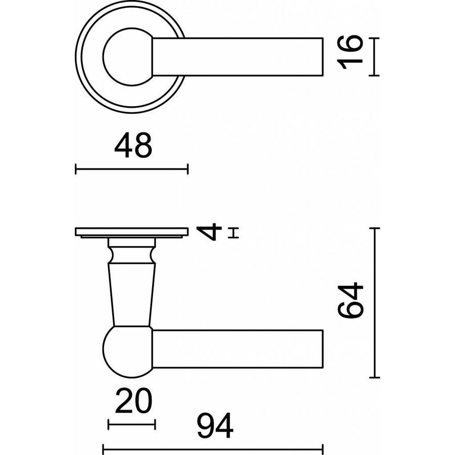 Zwarte deurklinken Petana L+L met cilinderplaatjes