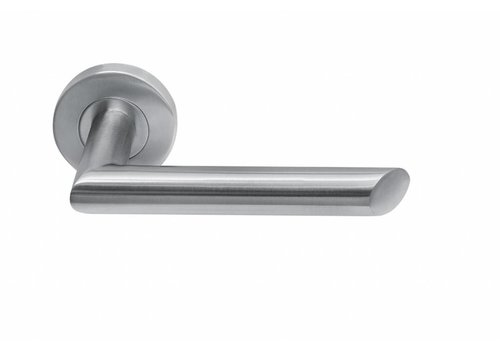 stainless steel door handle rosette around Havana
