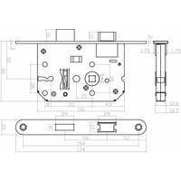 Wit klavierslot met 2 sleutels en een asmaat van 55 mm, afgeronde witte voorplaat 20 x 175mm, doorn 50mm