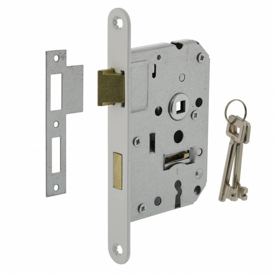 White lock with 2 keys and an axle size of 55 mm, rounded white front plate 20 x 175 mm, mandrel 50 mm