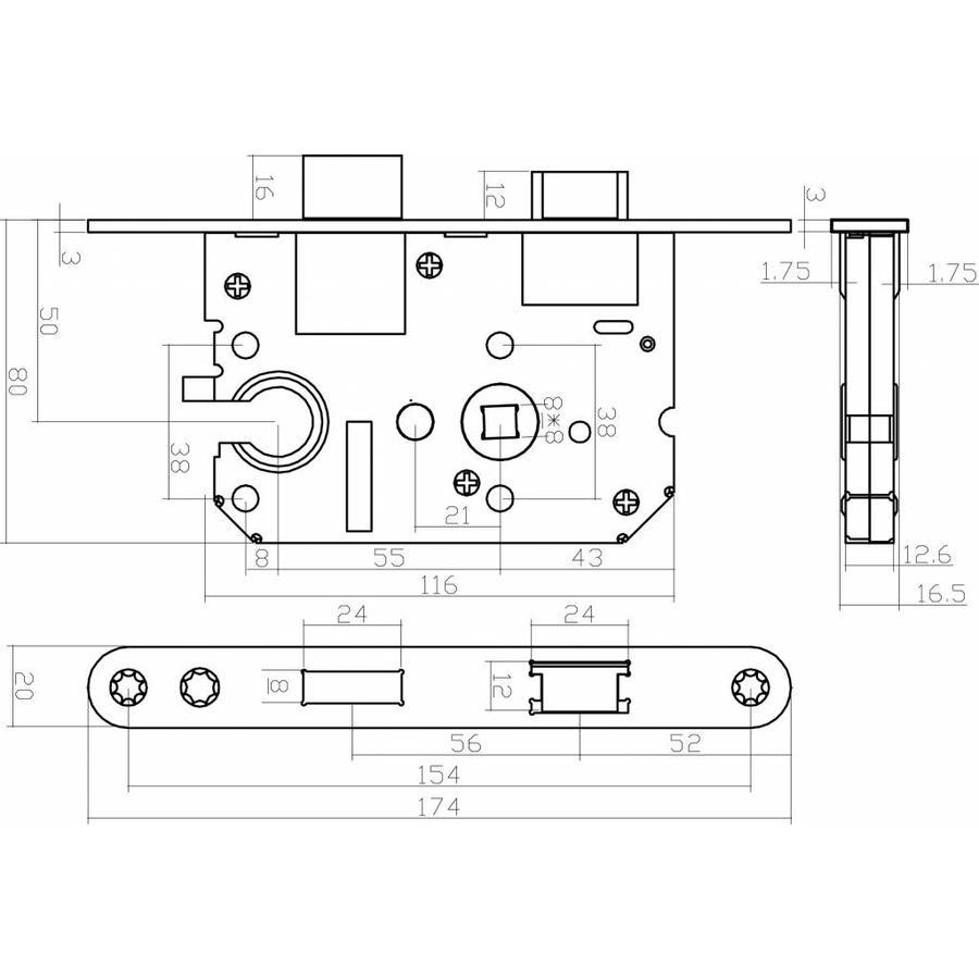 Wit Cilinderslot met een asmaat van 55 mm, afgeronde voorplaat 20x175mm, doorn 50mm incl. sluitplaat