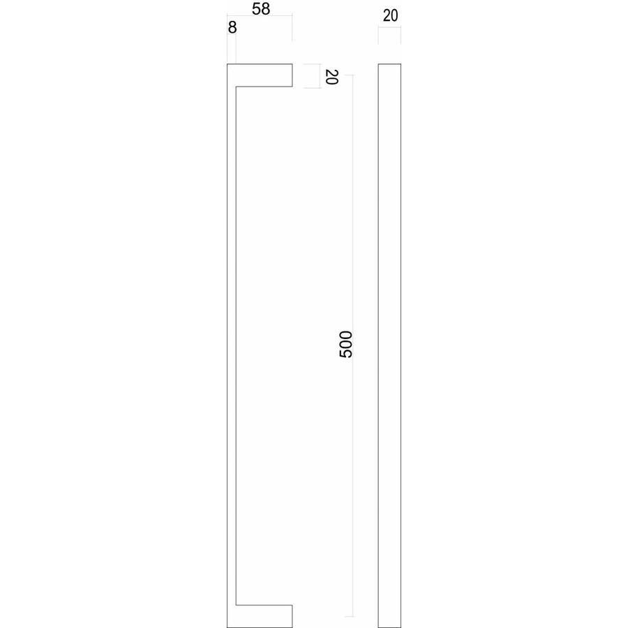 """Stainless steel door handles """"Cosmic"""" U 20/500 pair for door thickness > 30mm"""
