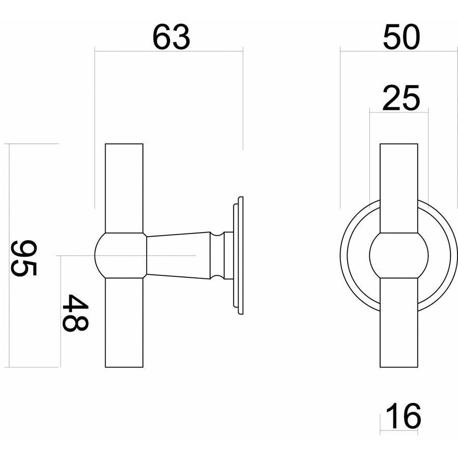 Zwarte landelijke deurklinken Petana T+T met WC-garnituur