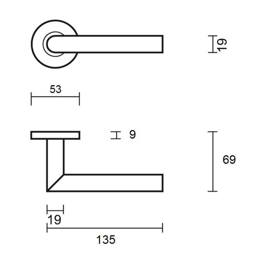 RSV Jersey door handle on round rosette
