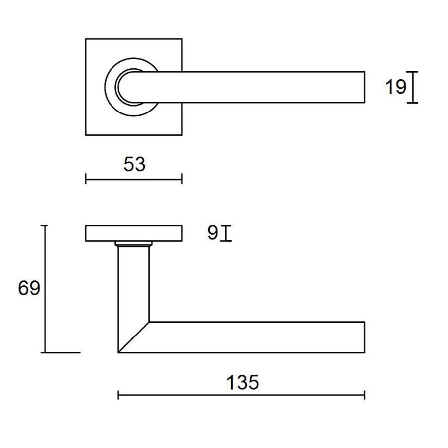 RVS deurklinken Jersey op vierkant rozet