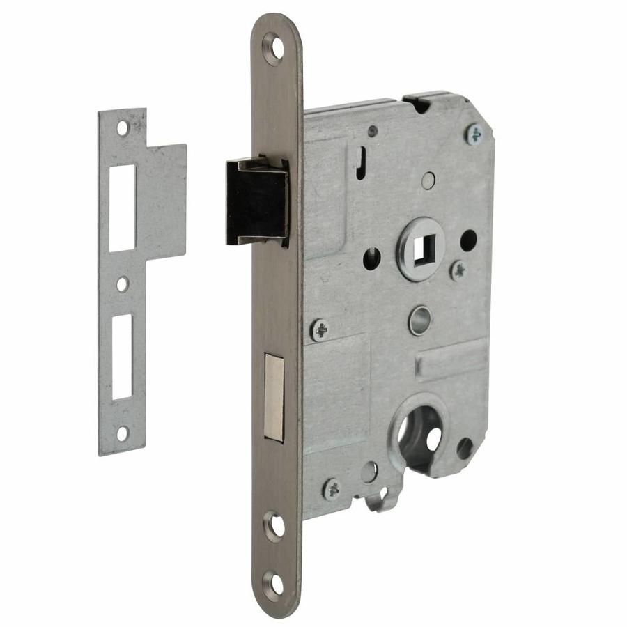 CYLINDER DAY AND NIGHT LOCK 55 MM, FRONT PLATE COMPLETED STAINLESS STEEL, 20X175, DOORN 50MM INCL. LOCKING PLATE