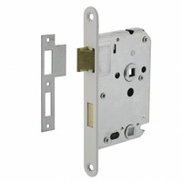 Toilet lock white with shaft size 63/8mm, rounded front plate 20x175mm, mandrel 50mm incl.