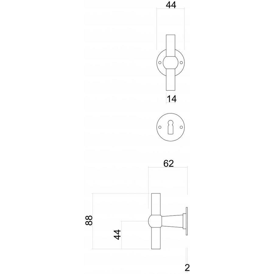 Deurklink Petra NM T+T roest rond met sleutelplaatjes