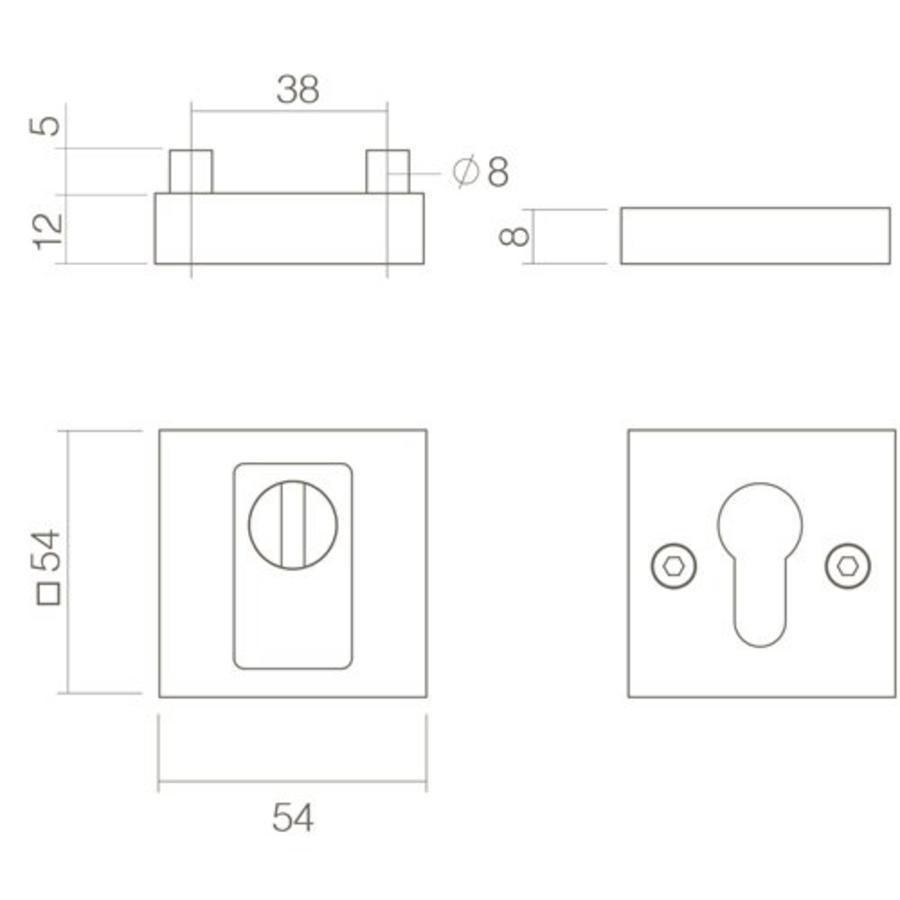 SKG3 Veiligheid-rozet vierkant massief met kerntrek beveiliging en zichtbare bouten RVS/mat zwart