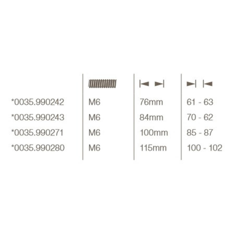 Bout 6-Hand 76mm für Sicherheitsrosette für Türstärke 61 / 63mm