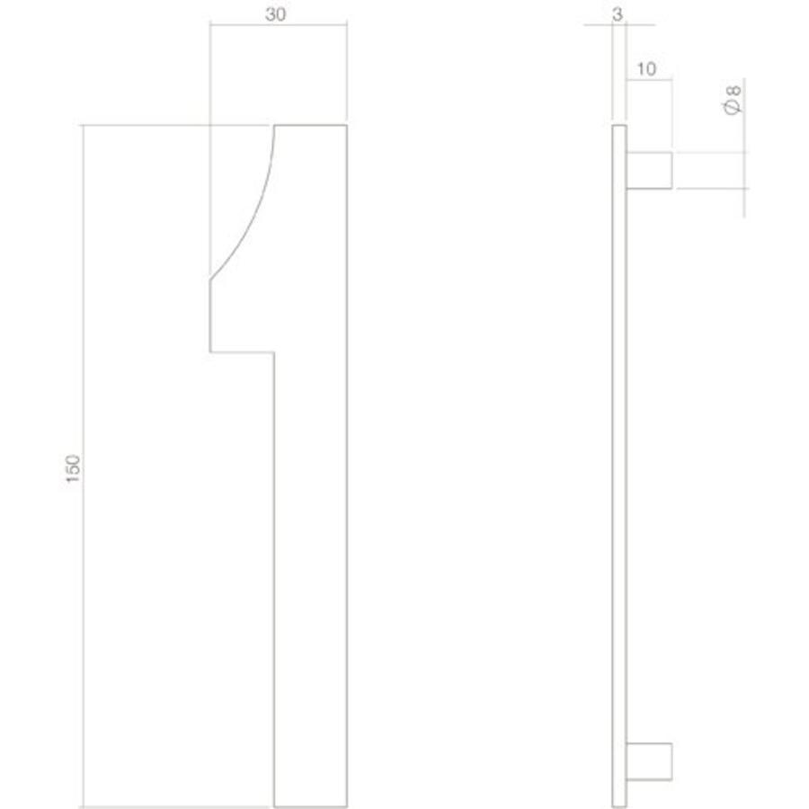 Huiscijfer nr. 1 150mm RVS/mat zwart
