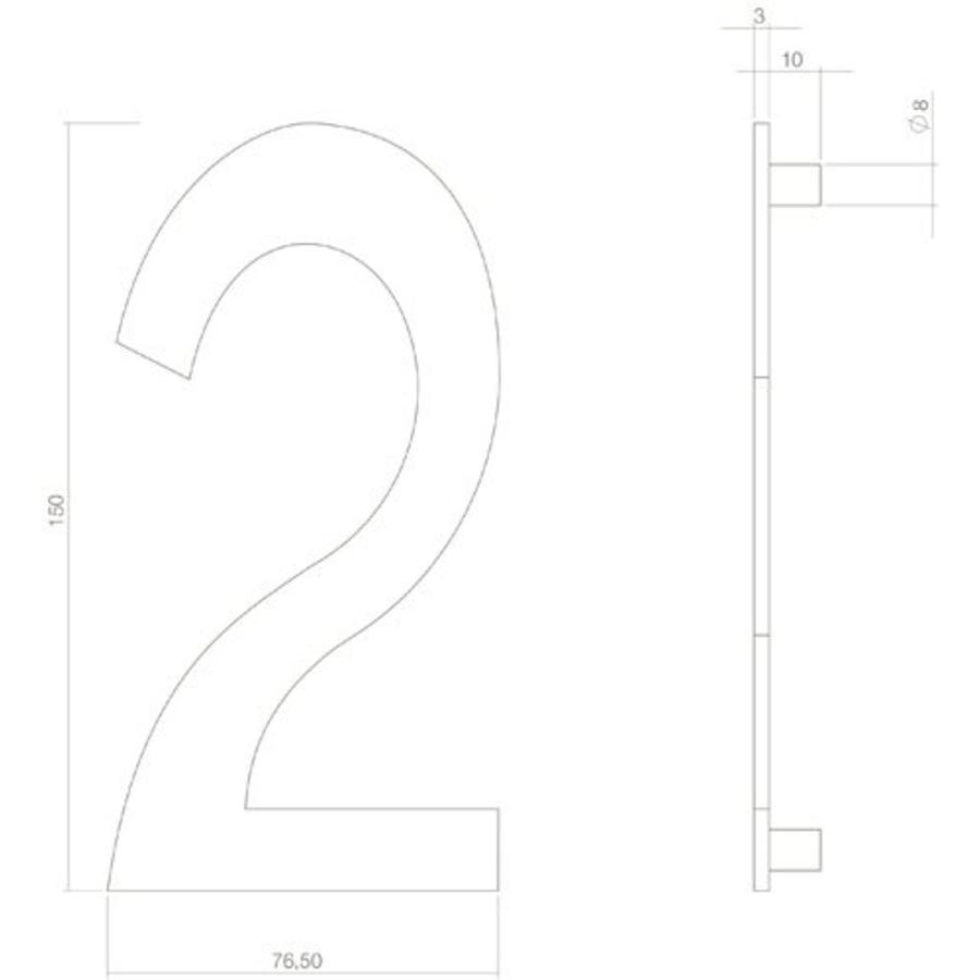 Huiscijfer nr. 2 150mm RVS/mat zwart