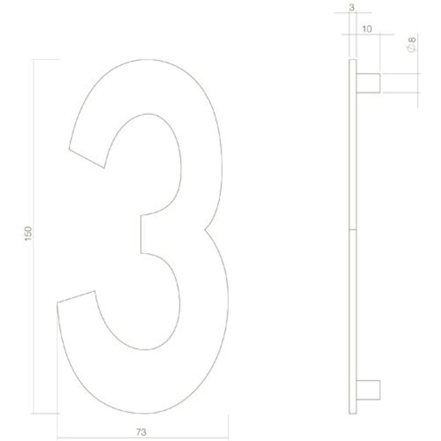 Huiscijfer nr. 3 150mm RVS/mat zwart