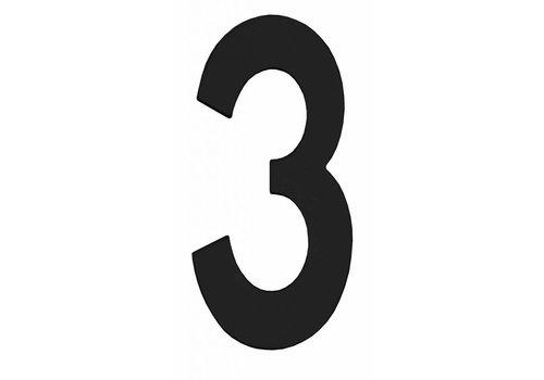 Zwart huisnummer 3 - 150mm