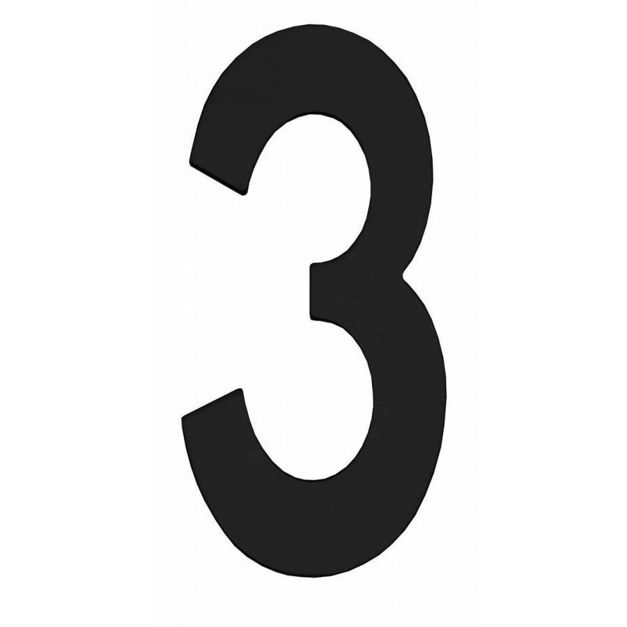 Mat zwart huisnummer 3 met een hoogte van 150mm