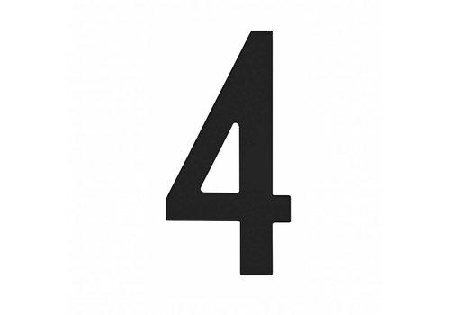 Numéro de maison 4 150mm acier inoxydable/noir mat