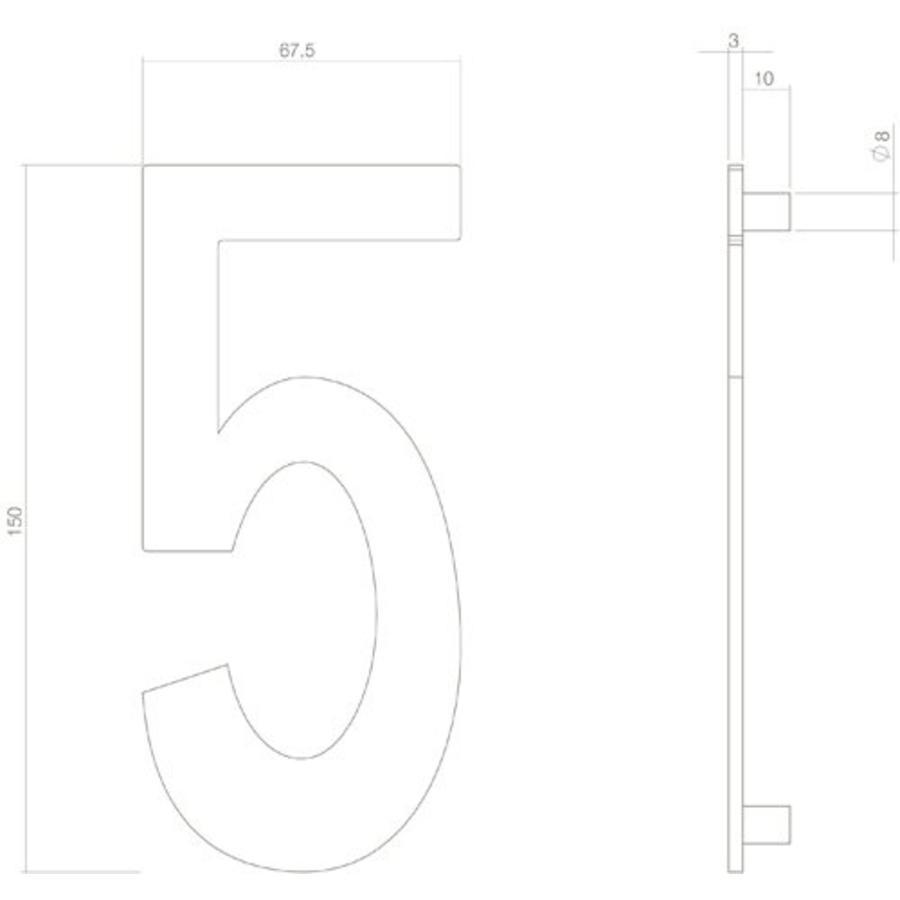 Mat zwart huisnummer 5 met een hoogte van 150mm