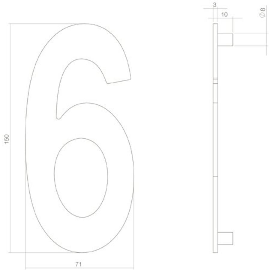 Mat zwart huisnummer 6 met een hoogte van 150mm