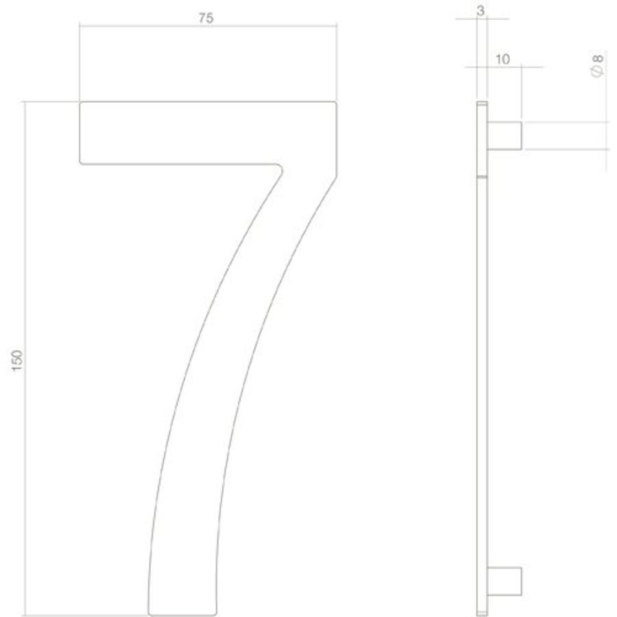 Huiscijfer nr. 7 150mm RVS/mat zwart