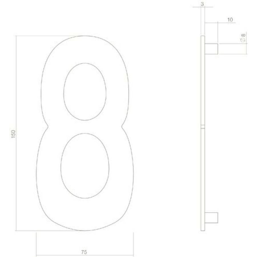 Huiscijfer nr. 8 150mm RVS/mat zwart