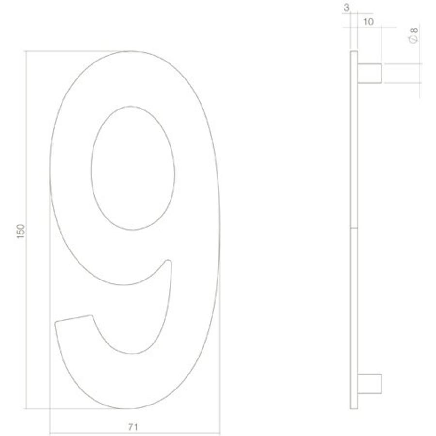 Huiscijfer nr. 9 150mm RVS/mat zwart