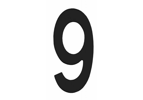 Schwarze Hausnummer 9 - 150mm