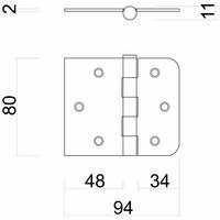 Kogelscharnier rechte en afgeronde hoek zwart 80x94x2 mm