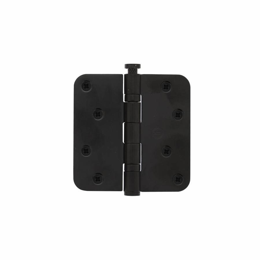 Kogelscharnier afgerond 89x89x2,5mm RVS zwart + 8 schroeven