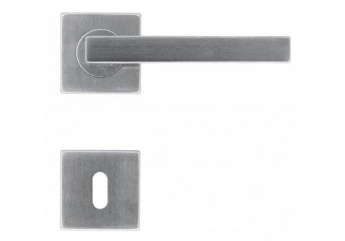 Poignées de porte en acier inoxydable forme Kubic 16 mm avec plaques porte-clés