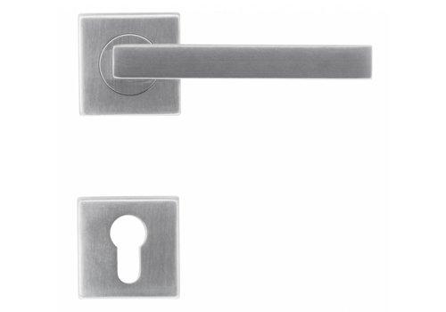 Poignées de porte en acier inoxydable forme Kubic 16 mm avec plaques cylindriques