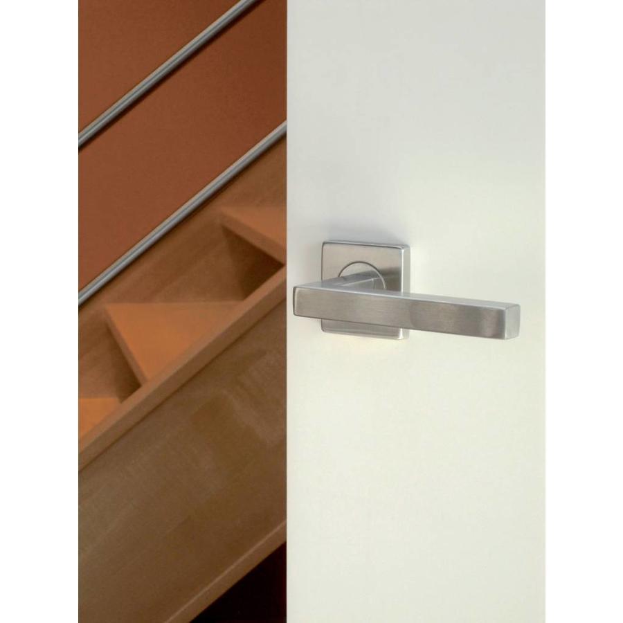 RVS deurklinken Kubic shape 16 mm met cilinderplaatjes