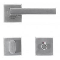 RVS deurklinken Kubic shape 16 mm met WC garnituur