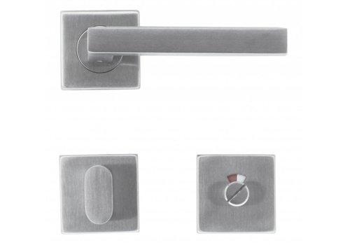 Poignées de porte en acier inoxydable forme Kubic 16 mm avec kit WC