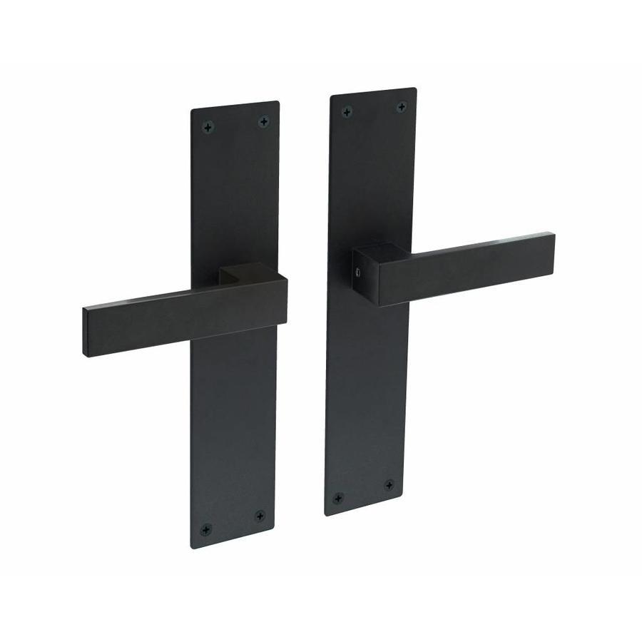Deurkruk paar Amsterdam op blind renovatieschild 2mm mat zwart