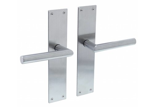 Door handle right angle 90° Ø19mm with long backplate 250X55X2mm blind stainless steel