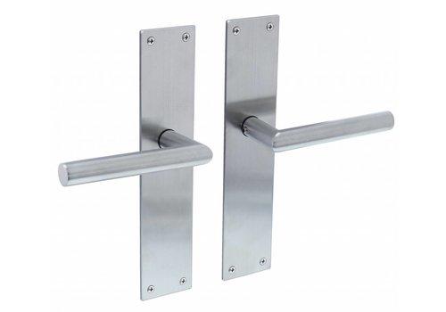Poignée de porte coudée 90° Ø19mm avec contre-plaque longue 250X55X2mm aveugle inox