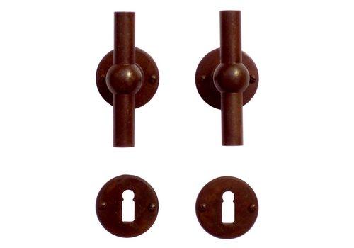 Poignées de porte Petra NM T+T rouille rondes avec plaques à clés